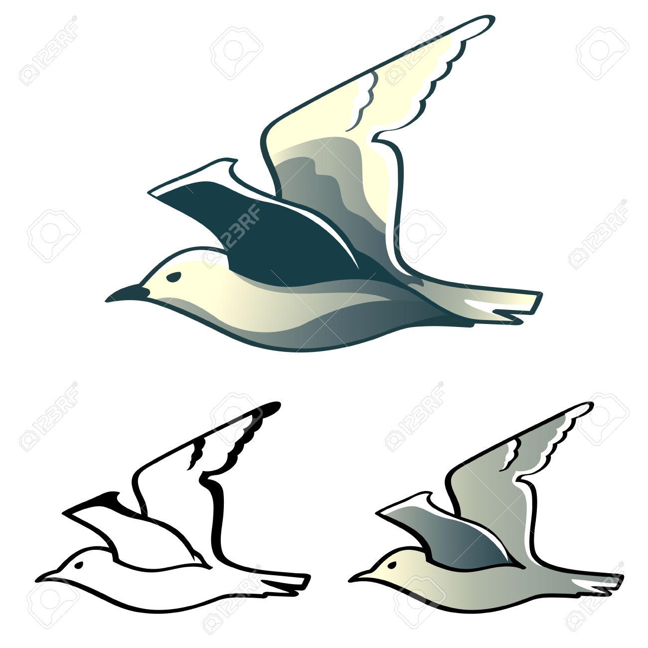 Diseños De Albatros (o Gaviota) Vuelos Aislados Ilustraciones.