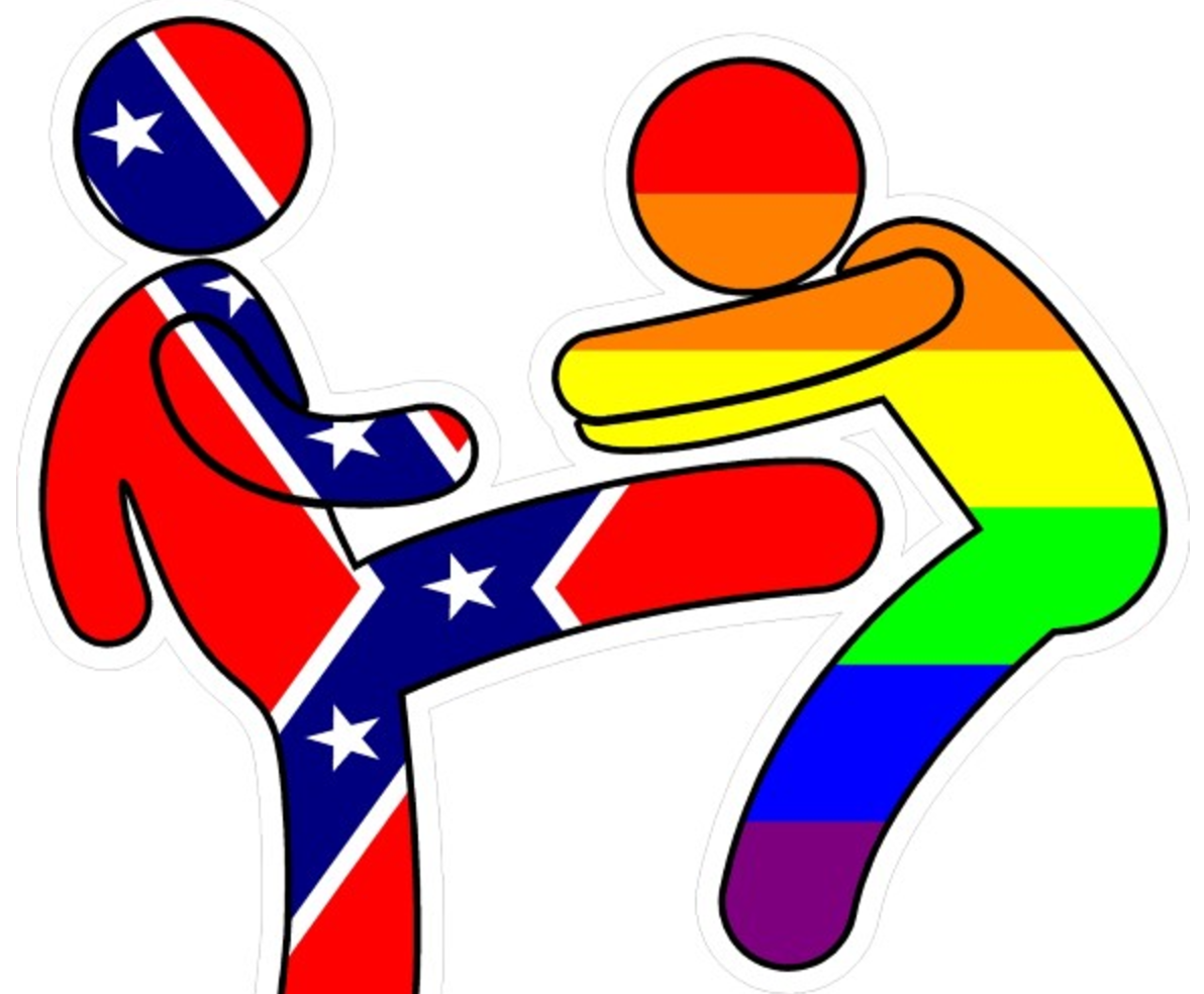 Trump bumper sticker supports confederate flag beating up LGBT.
