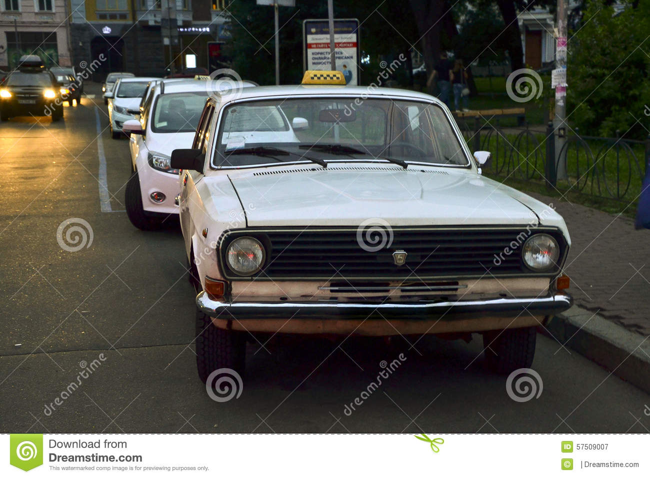 White Soviet Taxi Volga GAZ.