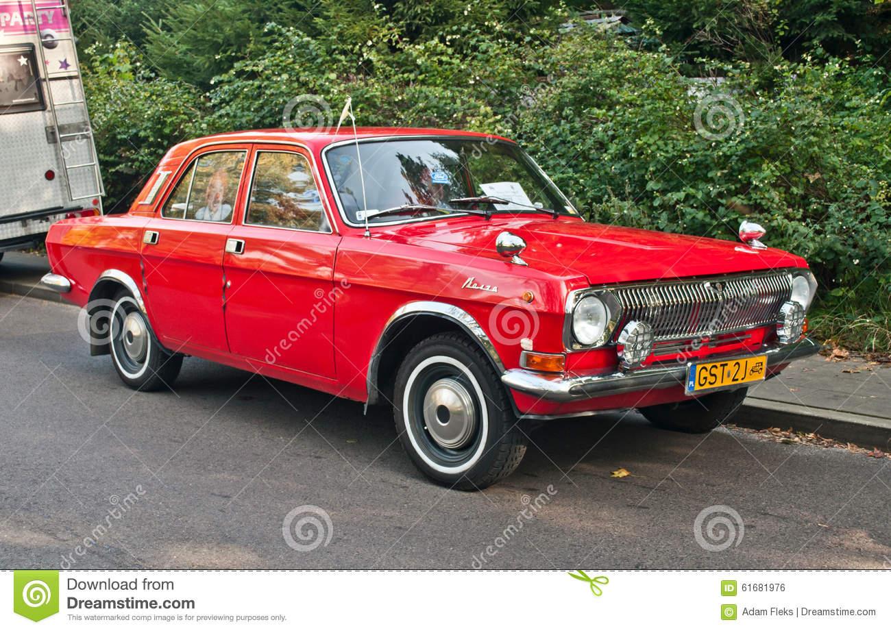 Classic Soviet Red Car Volga GAZ.