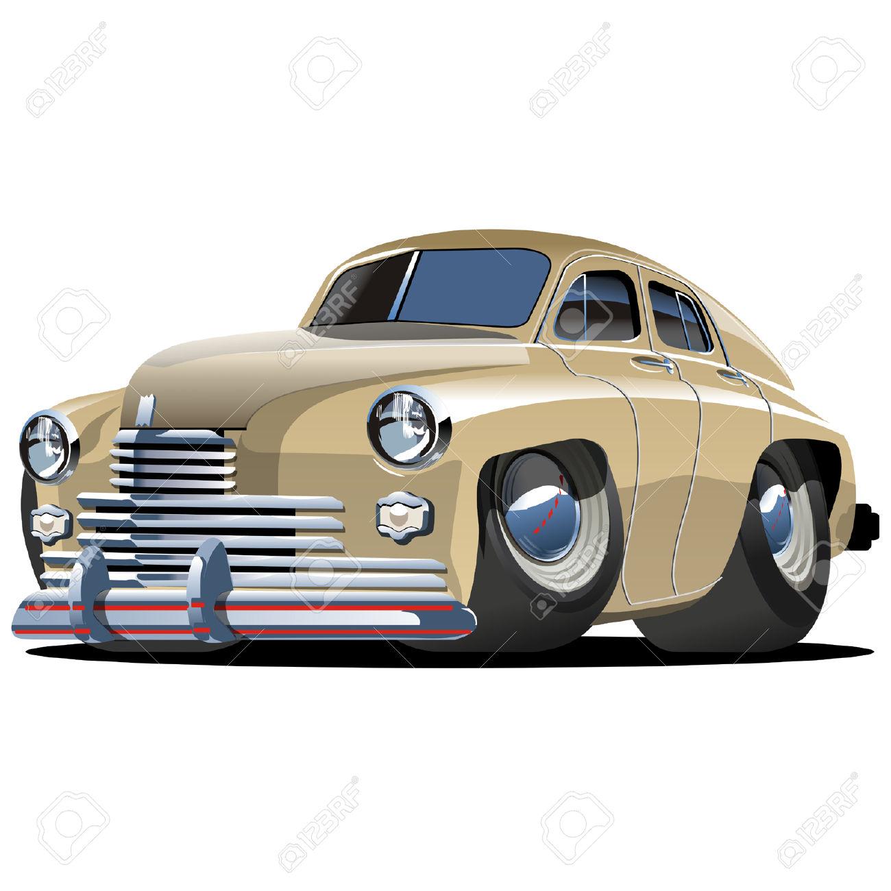 Vector Cartoon Retro Car Pobeda Royalty Free Cliparts, Vectors.