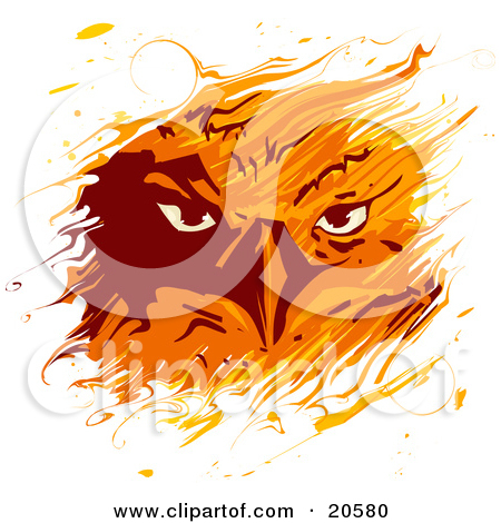 Clipart Illustration of a Feiry Eagle's Gaze Through Flames by.