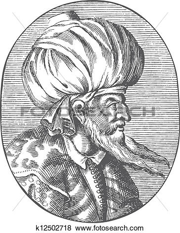Clip Art of Enraved portrait of Sultan Orhan Gazi k12502718.
