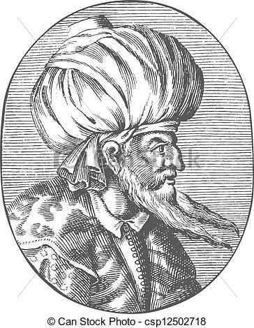 Vector Clip Art of Enraved portrait of Sultan Orhan Gazi.