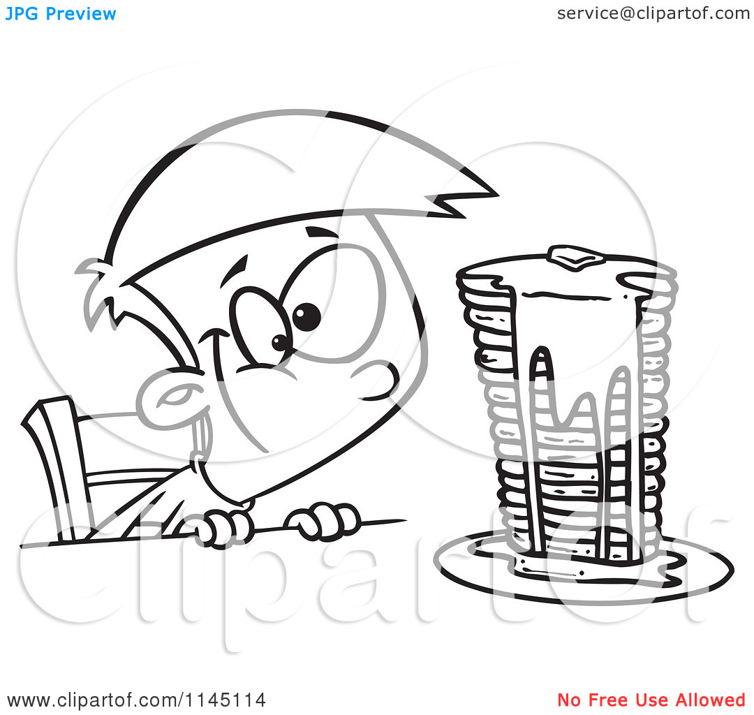 Cartoon Clipart Of A Black And White Hungy Boy Gazing at a Stack.