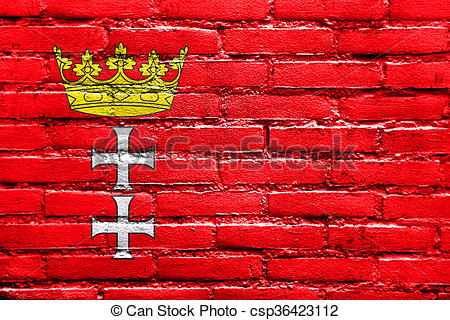 Clipart of Flag of Gdansk, painted on brick wall csp36423112.