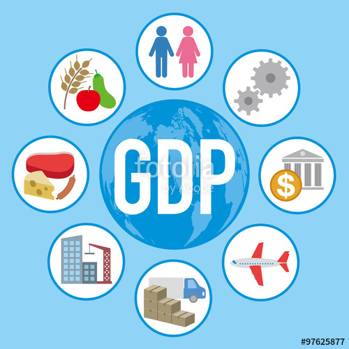 Gross Domestic Product (GDP), and various industry and service.