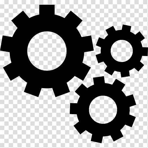 Three black gears illustration, Gear Computer Icons.