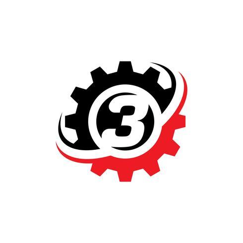 Number 3 Gear Logo Design Template.