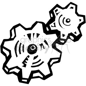 black and white gears clipart. Royalty.