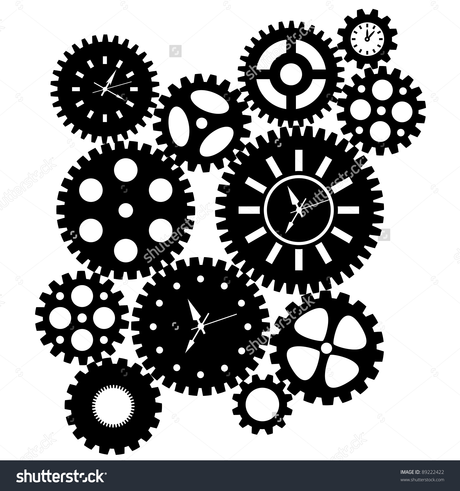 Gears Black And White Clipart.
