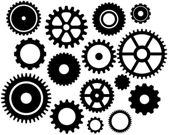 Steampunk Gears Clip Art, Black Gears Silhouette Clip Art.