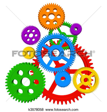 Stock Illustration of People Turning in Gears.