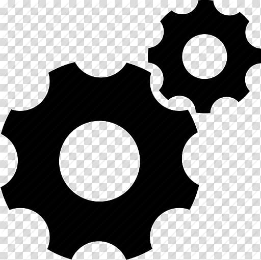 Two black gear illustrations, Computer Icons Iconfinder.