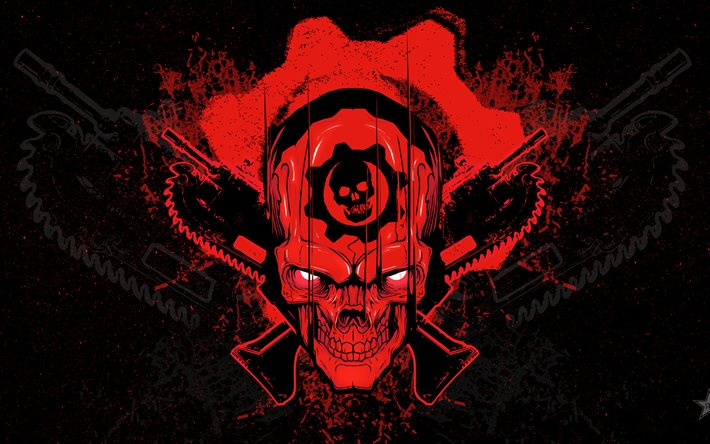 Download wallpapers Gears Of War 4, logo, grunge, skull for.
