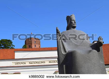 Stock Photo of Gediminas castle museum Mindaugas sculpture.