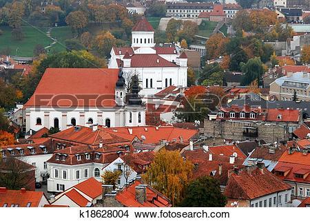 Stock Photo of Bird eye view of Vilnius old town from Gediminas.