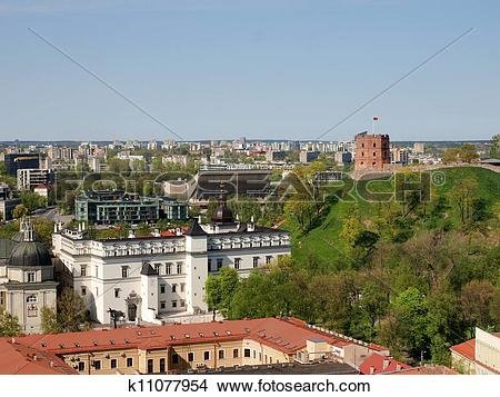Stock Photo of Palace of Great Dukes and Gediminas castle tower.