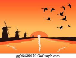 Birds Flying In V Formation Clip Art.