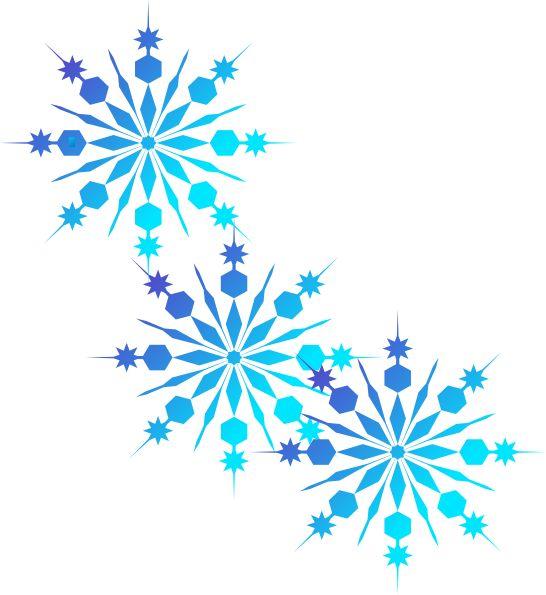 Free Set of 3 Light Blue Snowflakes Clip Art.