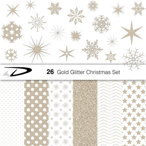 Weihnachten gold Glitzer Schneeflocken Clipart von MaryDdigital.