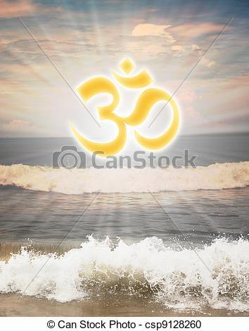 Stock Illustration von scheinen, om, hindu, symbol, aum, gegen.