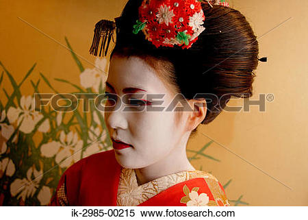 Stock Image of Geisha in Traditional Make.