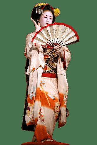 Geisha Performing Fan Dance transparent PNG.