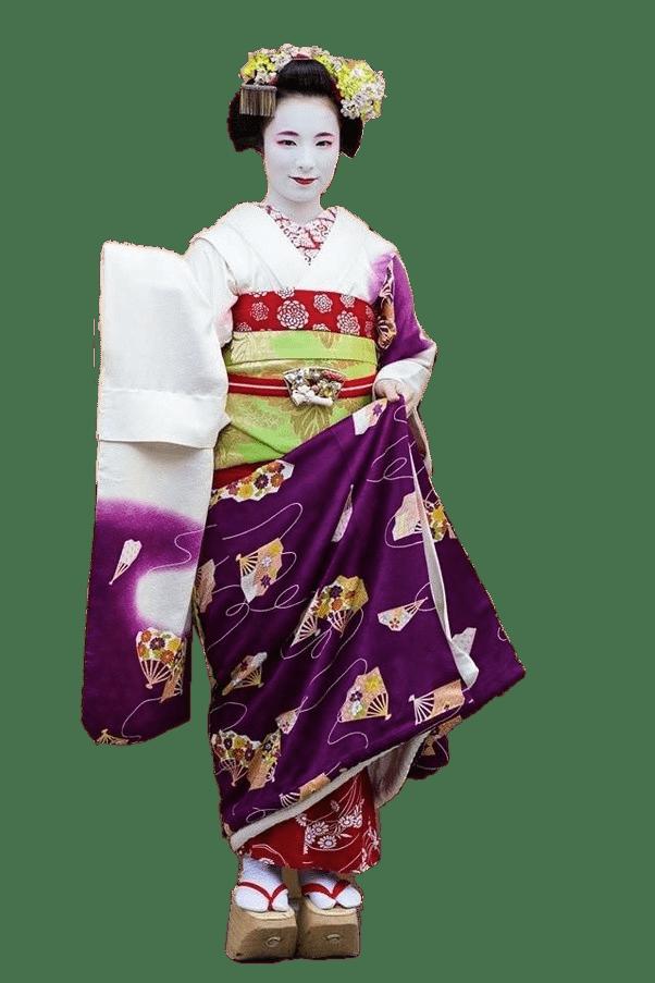 Geisha With Purple Tunic transparent PNG.