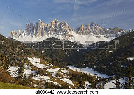 Stock Photo of Italy, Alto Adige, Villnoess Valley, Geisler group.