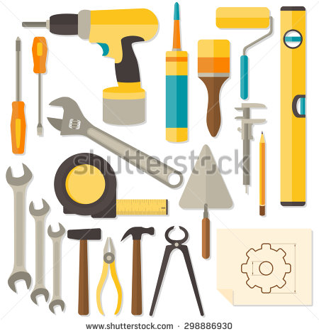 Tool Collage Isolated On White Background Stock Foto 107861786.