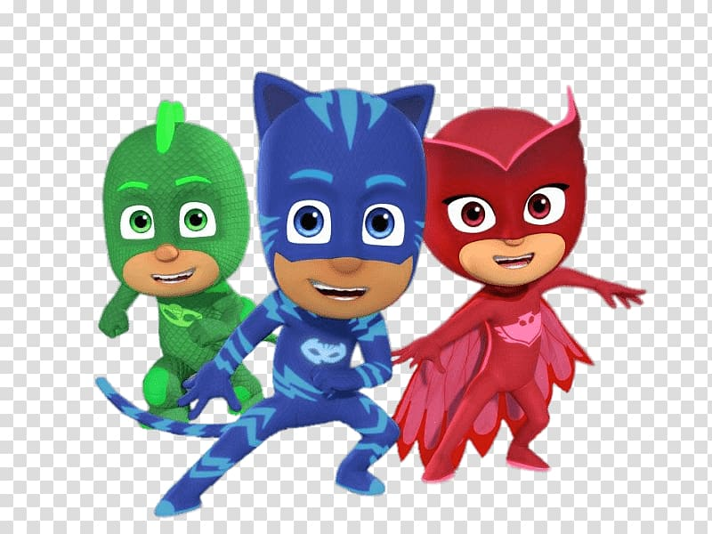 PJ Masks Catboy, Owlette, and Gekko illustration, Party.