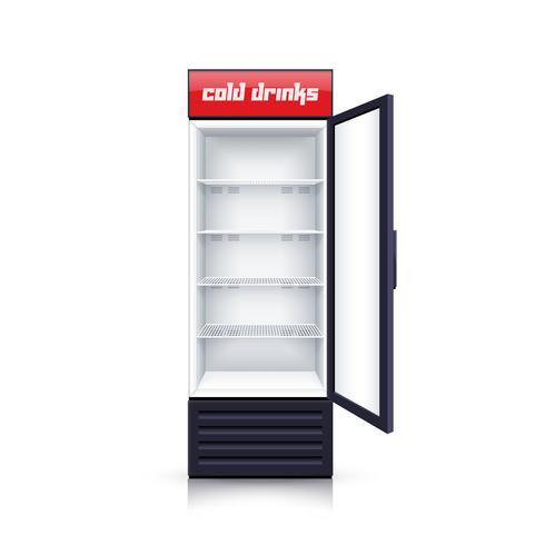 Ilustração realista aberta vazio de geladeira.