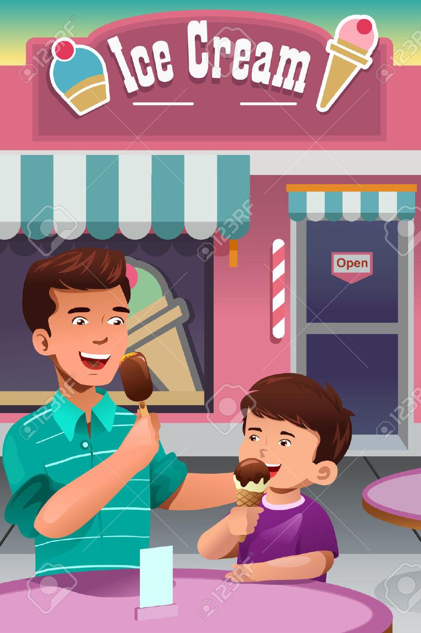 Un Esempio Di Padre E Figlio A Mangiare Il Gelato Davanti A Una.