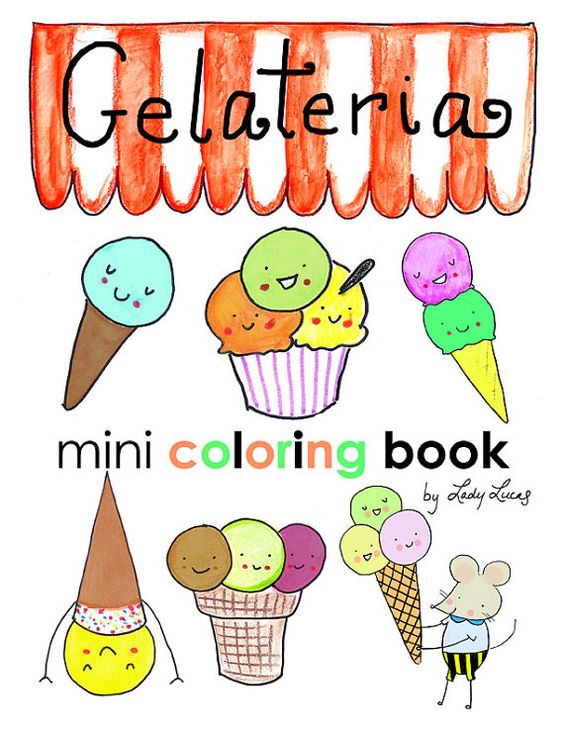 Gelato Ice Cream Coloring Book Printable Download.