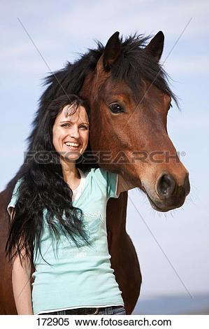 Stock Image of Domestic Horse. Zemaitukai Horse. Portrait of the.