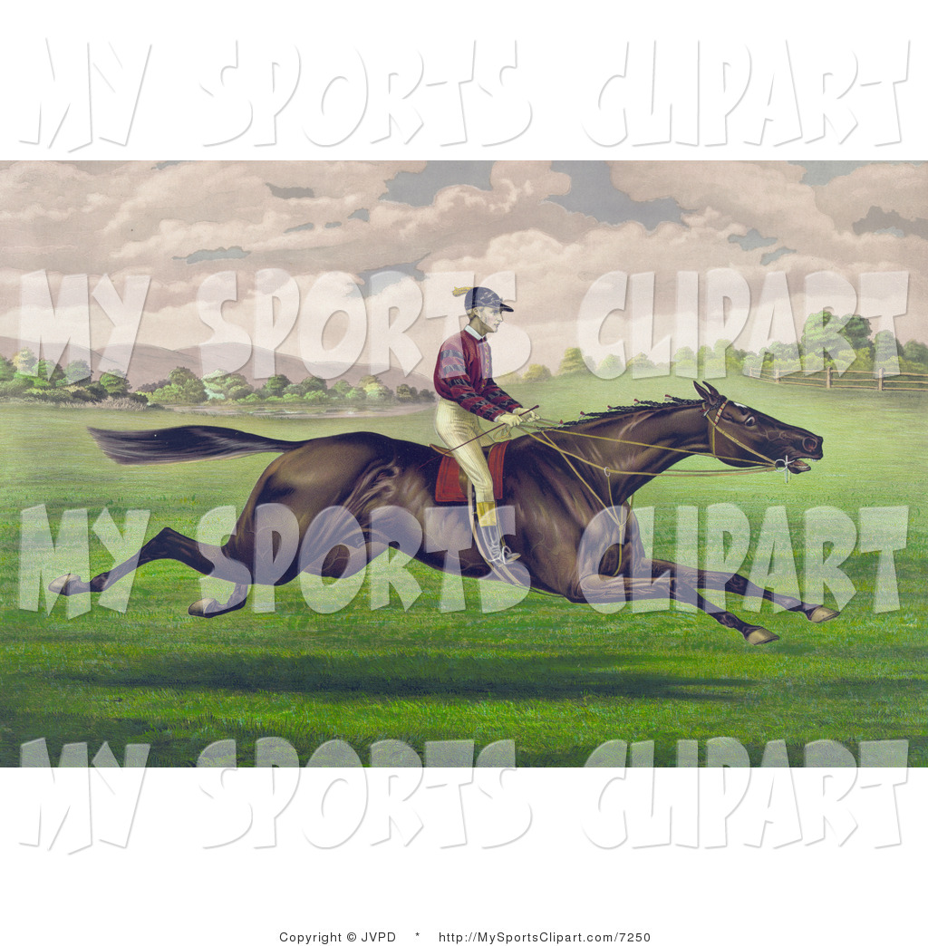 Sports Clip Art of a Jockey Riding on the Back of a Gelding.