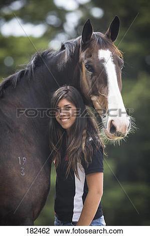 Stock Photo of Dutch Warmblood. Kelly Wilson with bay gelding. New.