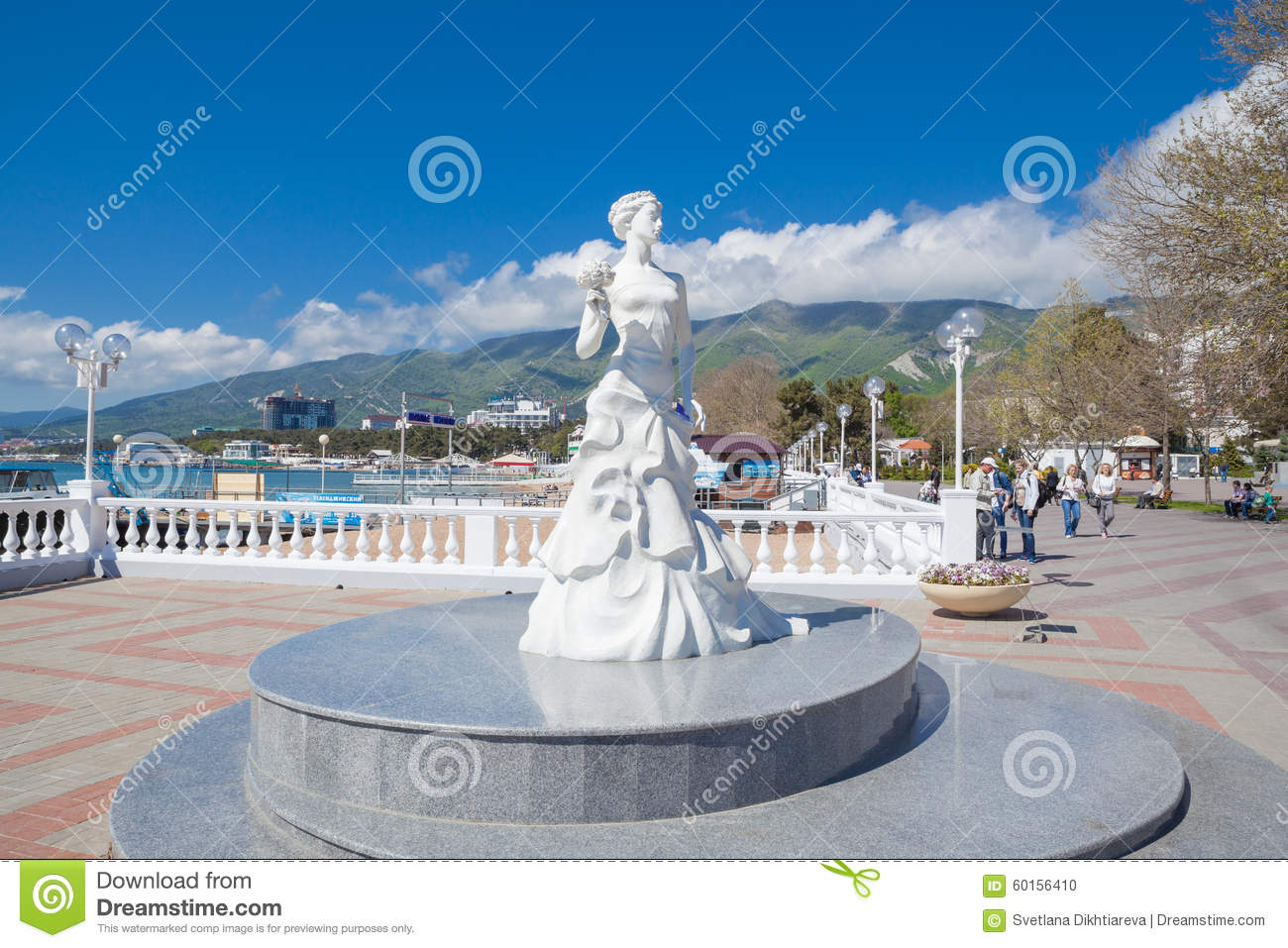 Sculpture White Bride Of Gelendzhik In Russia Editorial Image.