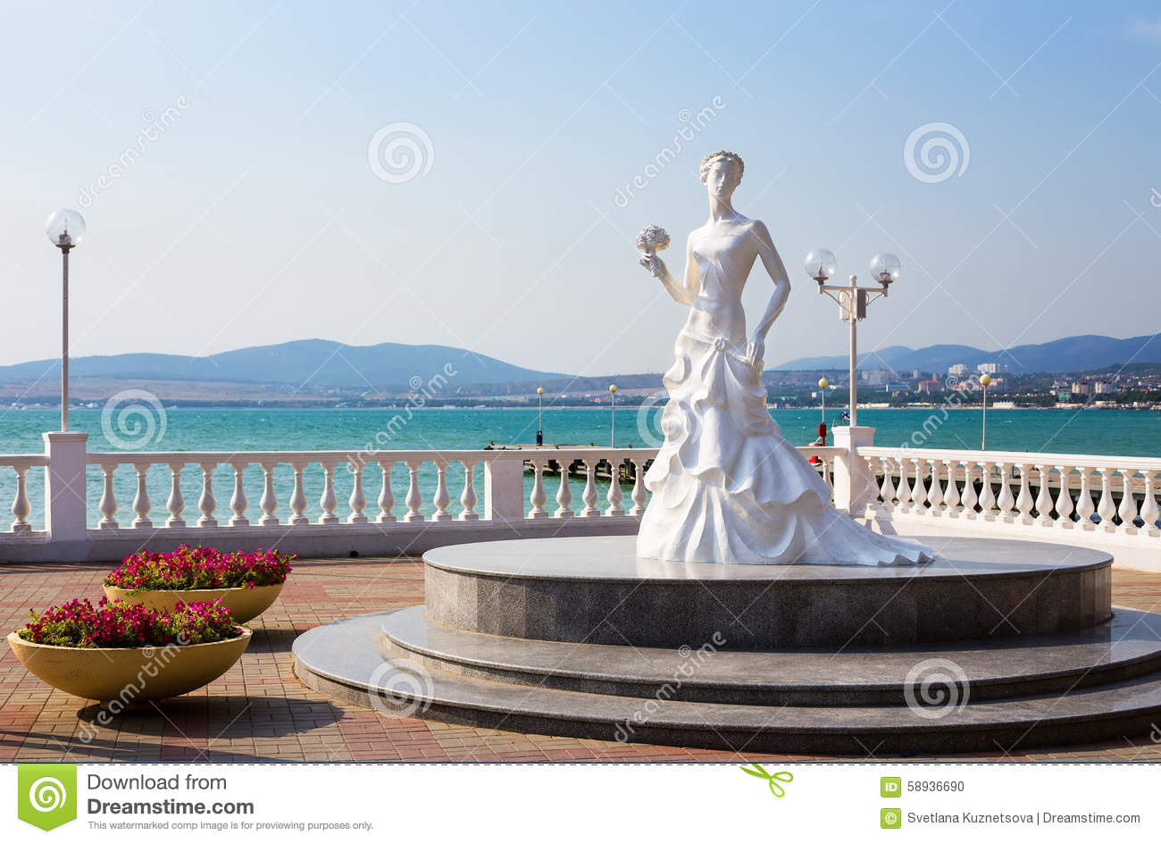Sculpture White Bride Of Gelendzhik In Russia Editorial Image.