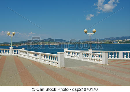 Picture of Black Sea Coast, Russia near Gelendzhik town embankment.