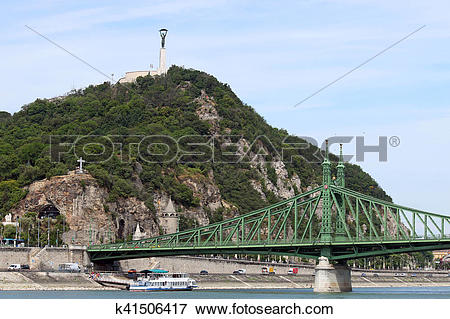 Picture of Liberty bridge and Gellert hill Budapest Hungary.