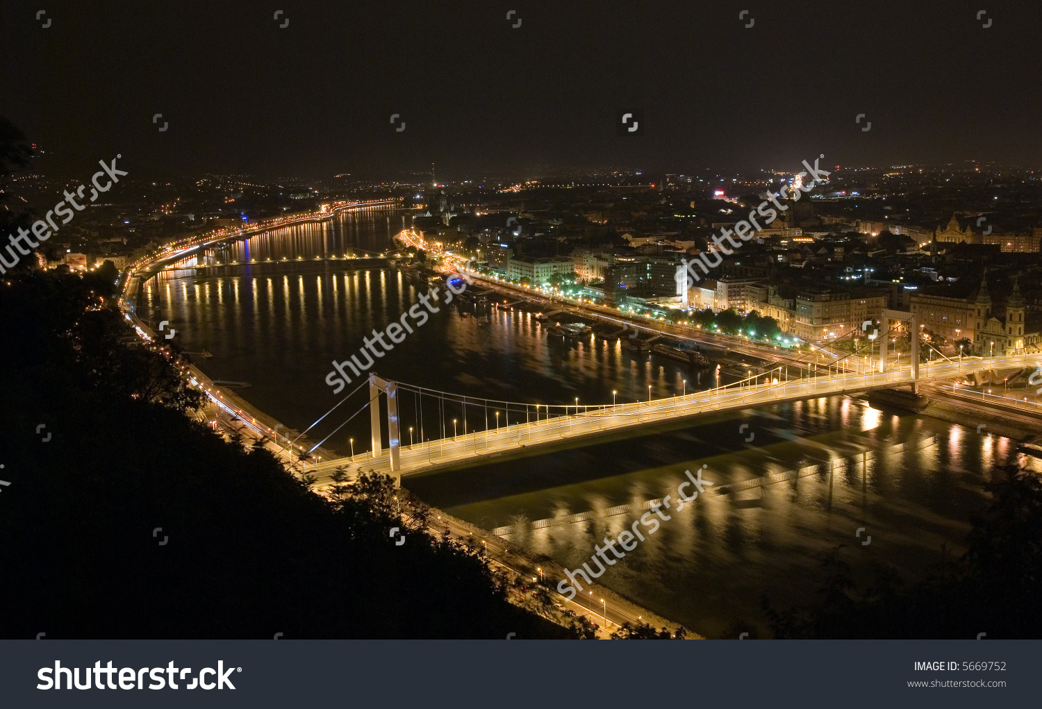Budapest By Night. View From Gellert Hill Stock Photo 5669752.