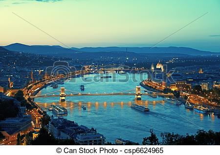 Stock Images of Budapest view form Gellert Hill, Citadella. (This.
