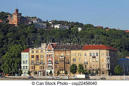 Stock Photo of old houses under Gellert hill Budapest csp22456040.