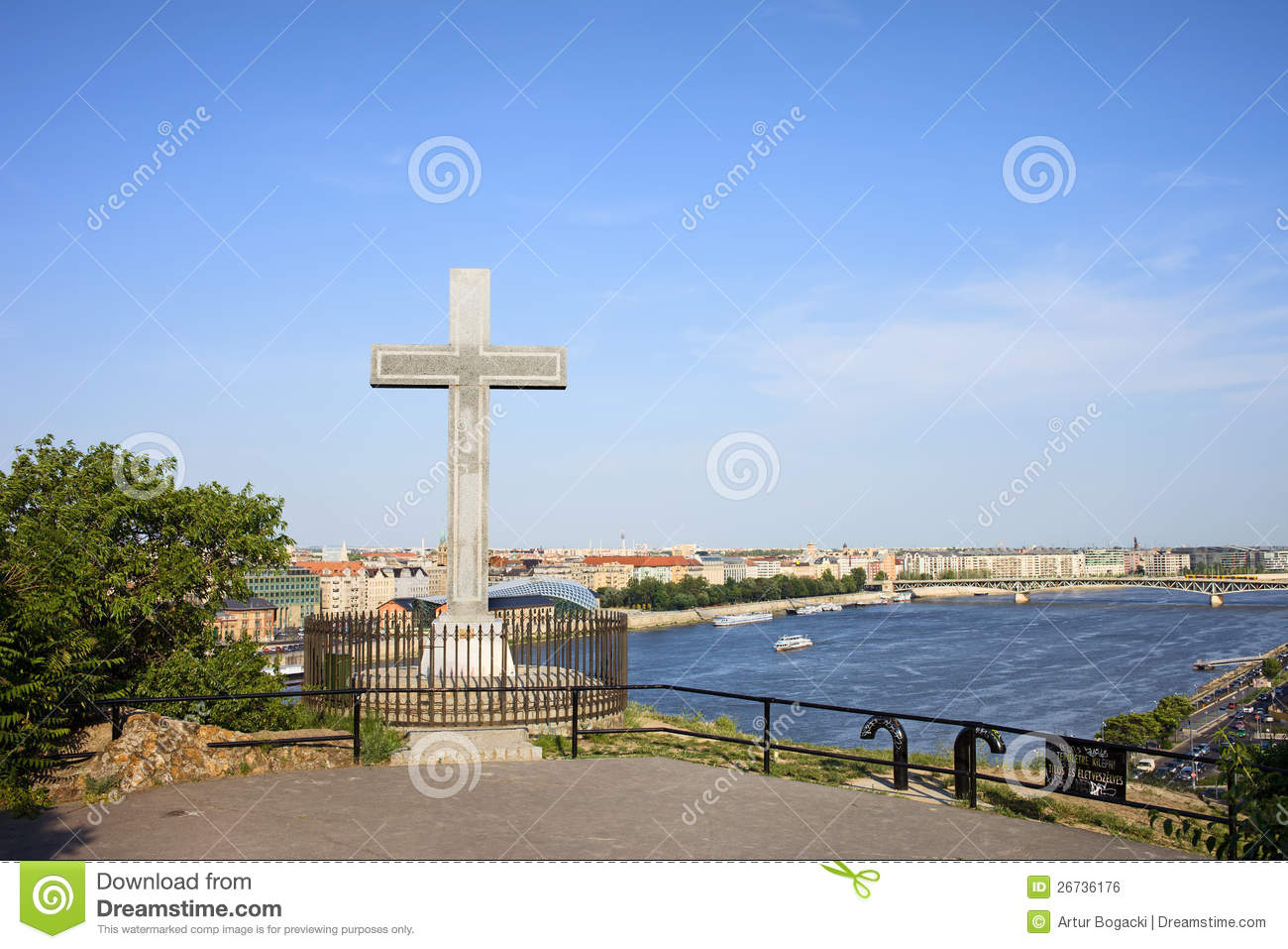 Gellert Hill Cross In Budapest Royalty Free Stock Image.