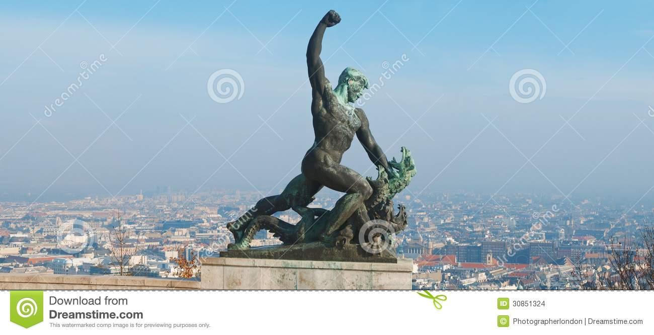 Statue Of St George The Dregon Killer On Gellert Hill In Budapest.