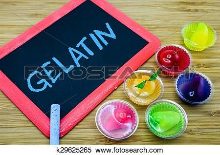 Stock Image of Concept of gelatin used as a gelling agent in food.