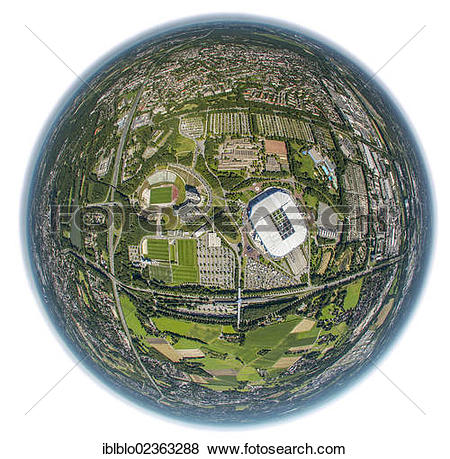"Pictures of ""Aerial view, fisheye shot, Veltins Arena."