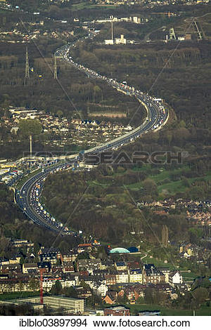 "Stock Photo of ""Aerial view, congestion on the A2 motorway."